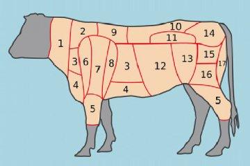 Fleischstücke vom Rind