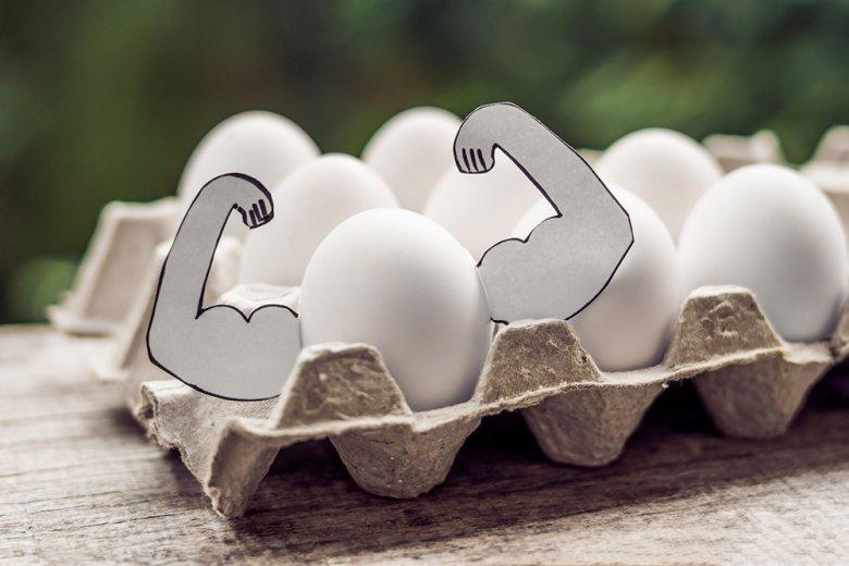 Eier enthalten sehr hochwertiges Eiweiß.