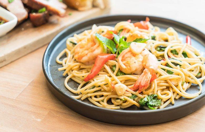 Auch mit Garnelen und Meeresfrüchten harmoniert Pasta vorzüglich.