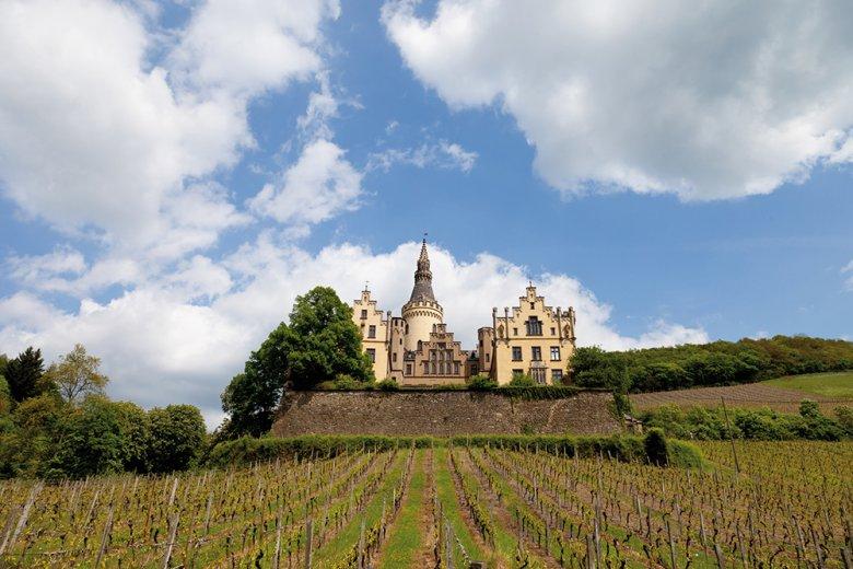Ein Blick auf das neogotische Schloß Arenfels mit seinen 10 ha großen Weinbergen.
