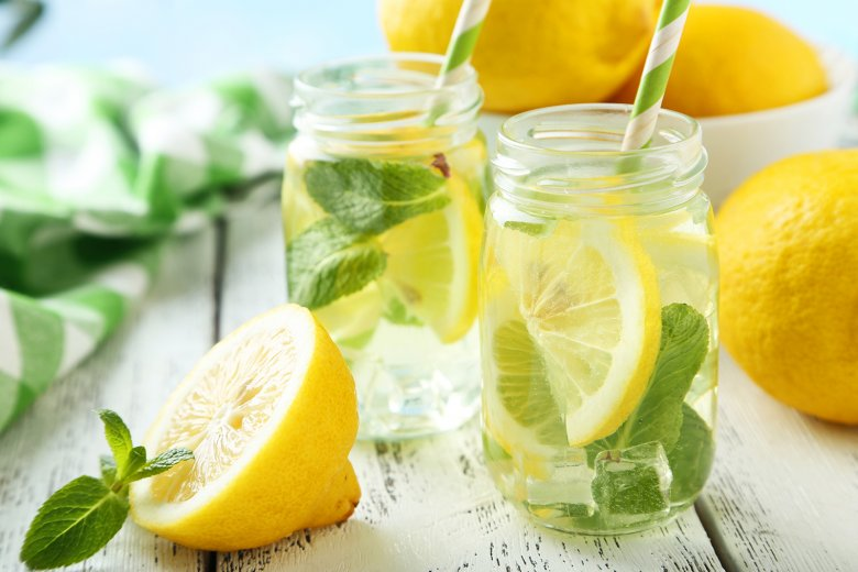 Zitronen-Minze-Wasser