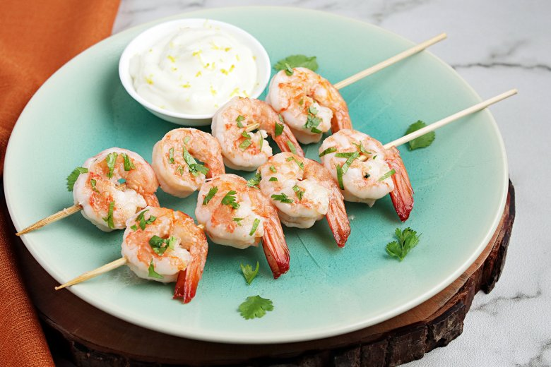 Garnelen mit Wasabi-Mayo-Sauce