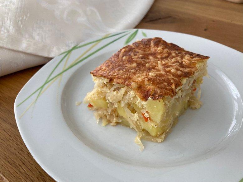 Kartoffelauflauf mit Sauerkraut