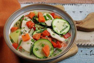 Pochierte Putenbrust mit Gemüsefond