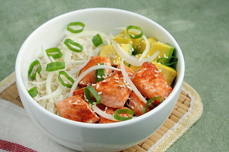 Lachs Bowl mit Reis