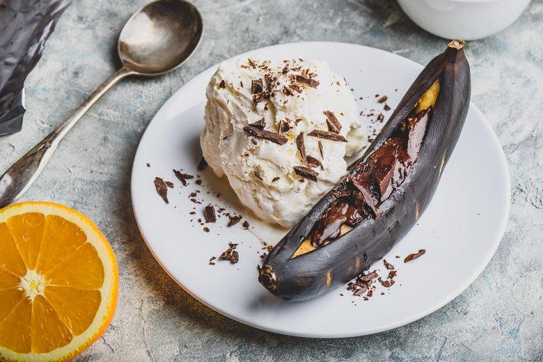 Gegrillte Bananen mit Schokolade