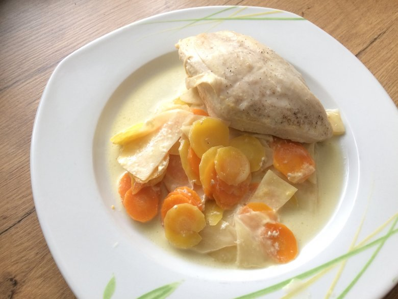 Hühnerbrust auf Gemüse