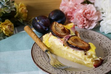 Pflaumenkuchen mit Pudding