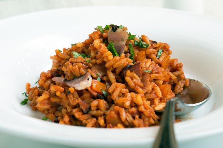Paprika-Reis mit Speck