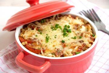 Tomaten-Bohnen-Mozzarella-Auflauf