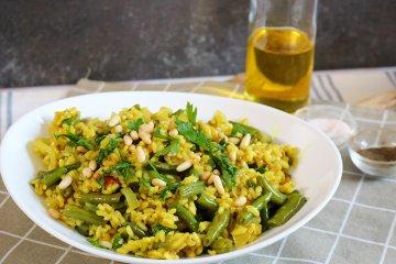 Grüne Bohnen mit Reis