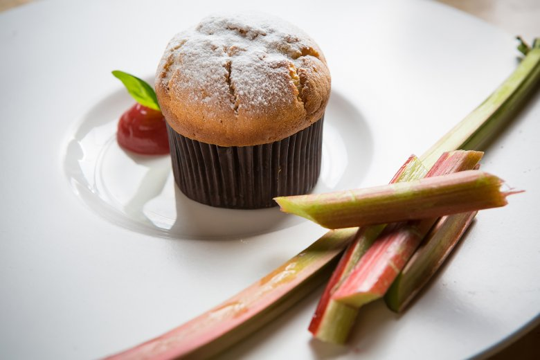 Rhabarber-Muffins mit Quark