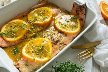 Lachsforelle mit Orangensauce