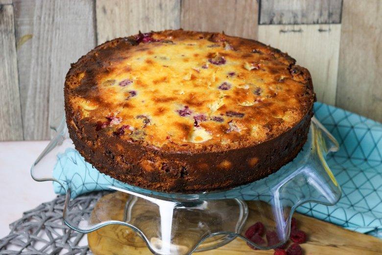 Quark-Kuchen mit Himbeeren