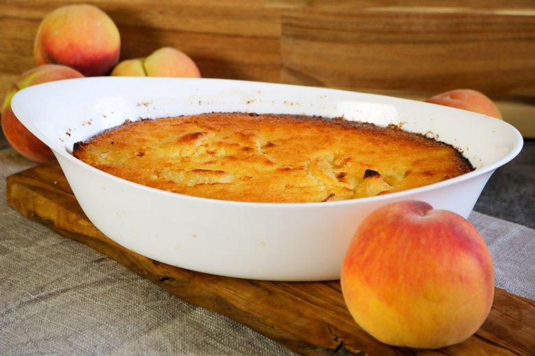 Quark-Grieß-Pfirsich-Auflauf