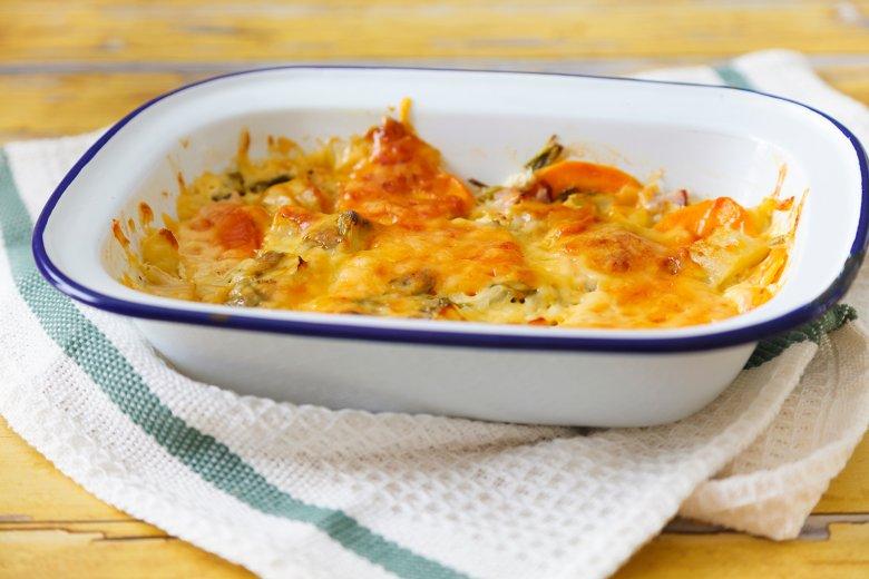 Süßkartoffel-Mangold-Gratin