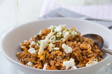 Zucchini-Reis-Pfanne mit Feta