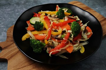 Gemüsewok mit Champignons