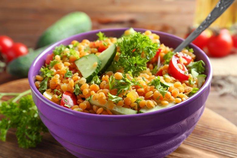 Linsensalat mit Gemüse