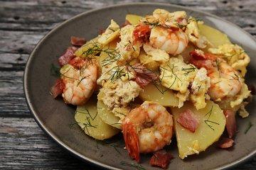 Kartoffelpfanne mit Shrimps