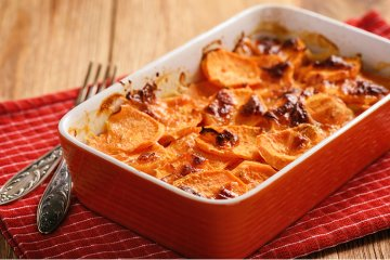 Süßkartoffel-Curry-Gratin
