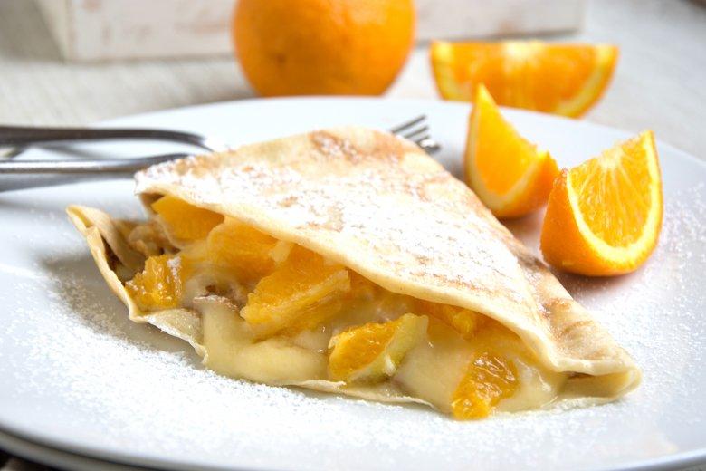 Orangenquark-Crêpes