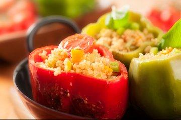 Paprika mit Couscous Gemüse Füllung