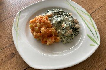Lachs-Ragout mit Möhren-Kartoffelstampf