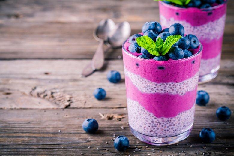 Chia-Pudding mit Blaubeeren