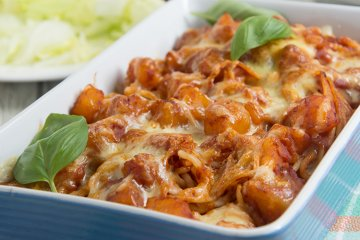 Spaghettiauflauf mit Hokkaidokürbis