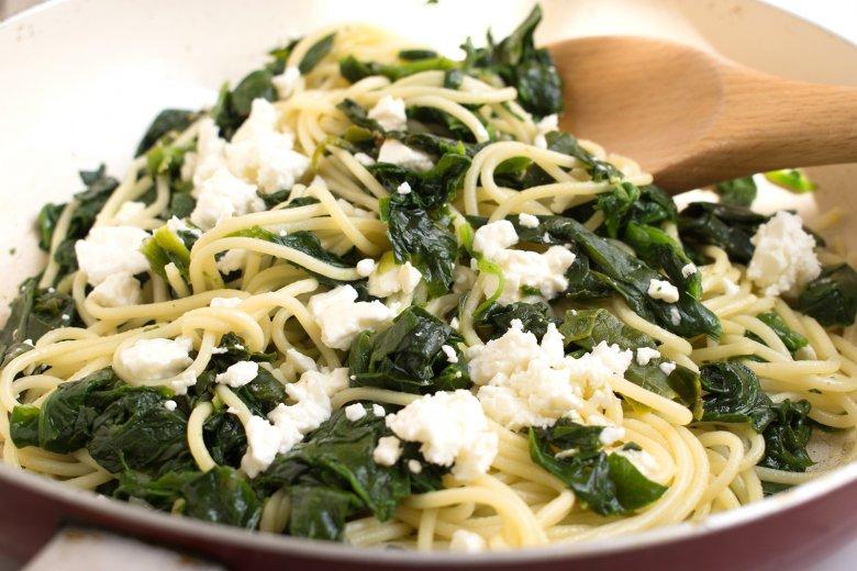 Spinat-Spaghetti mit Feta