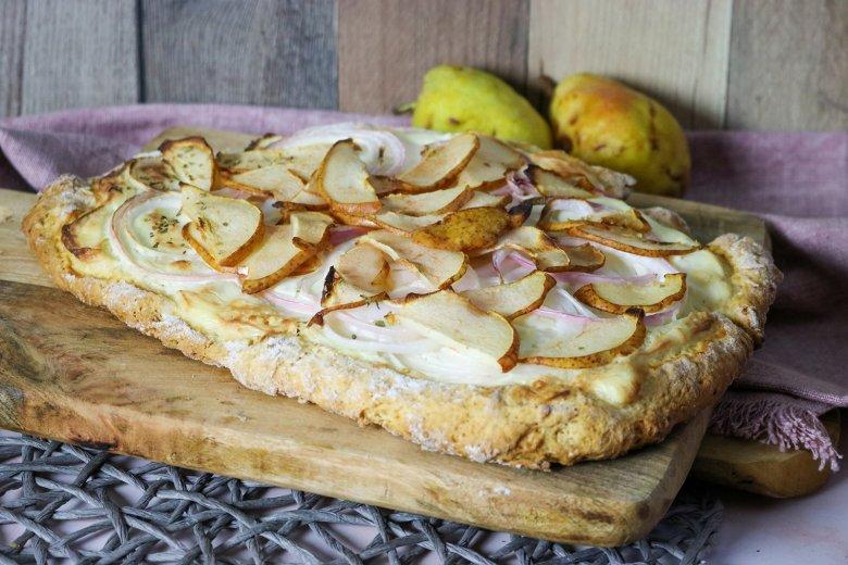 Birnen-Flammkuchen