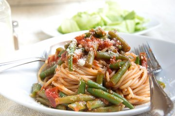 Spaghetti mit frischen Bohnen