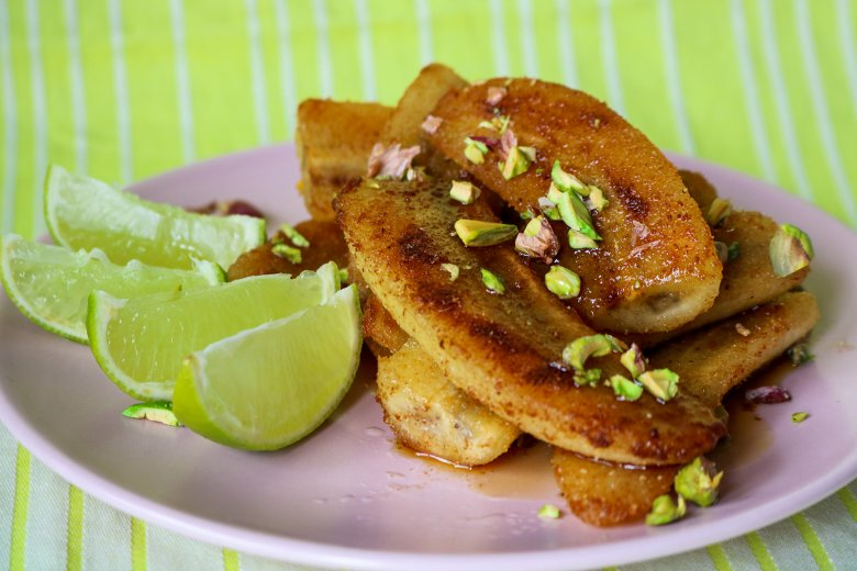 Gebratene Bananen mit Ahornsirup