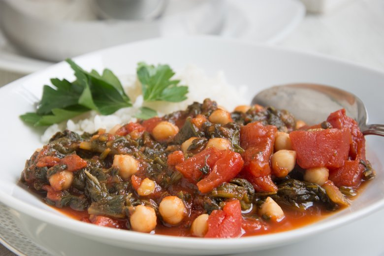 Kichererbsen-Stew mit Spinat