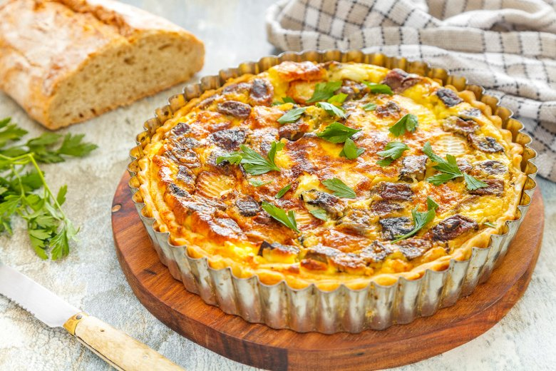 Quiche mit Pilzen und Camembert